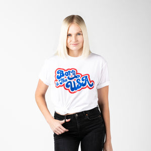 Retro Born in the USA | White