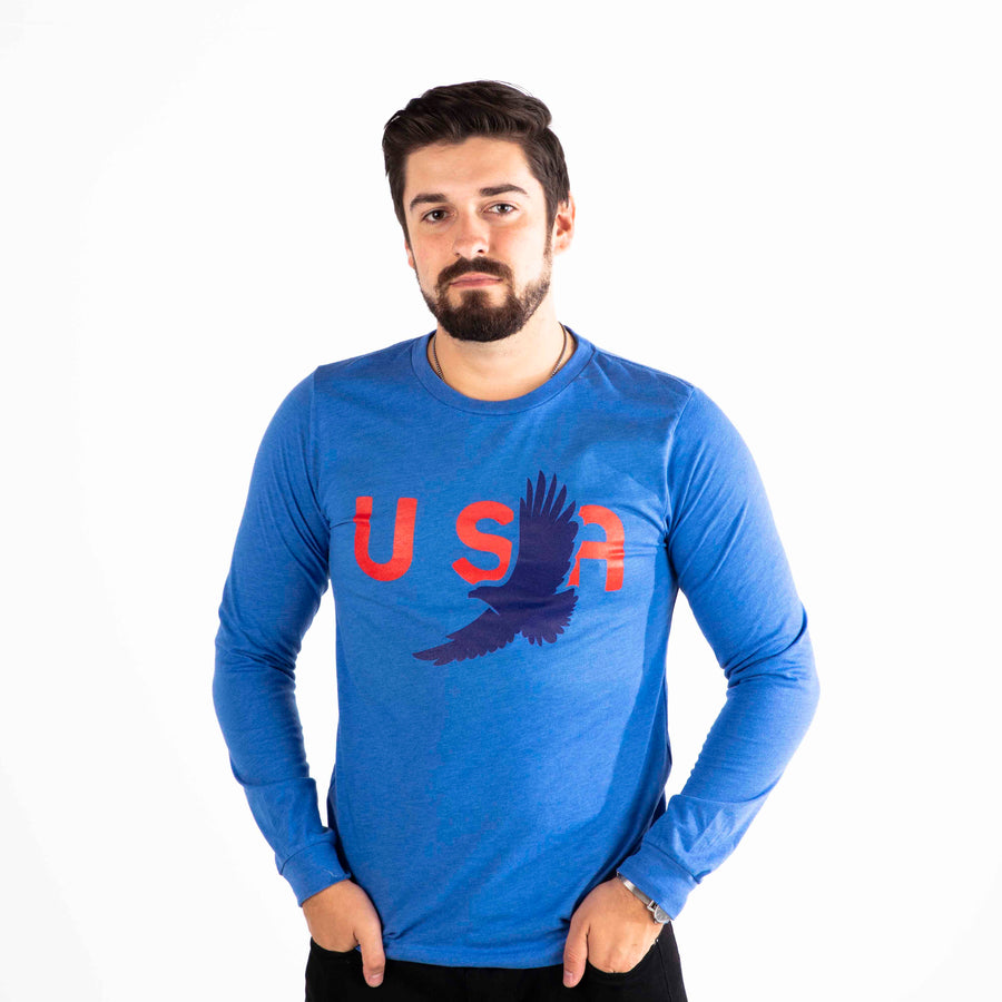 USA Eagle Long Sleeve Shirt | Royal Heather Blue