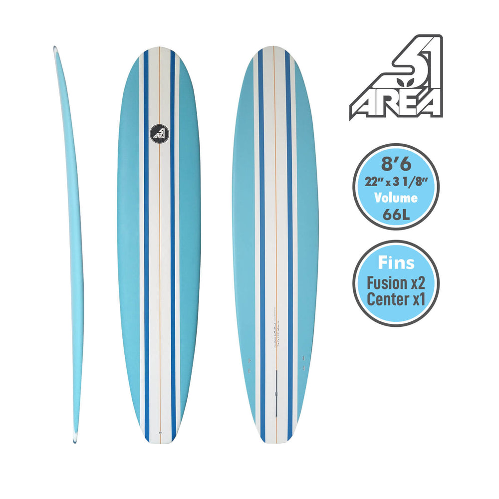 AREA51 Fun Mal 7' - 8'6 Surfboard Blue