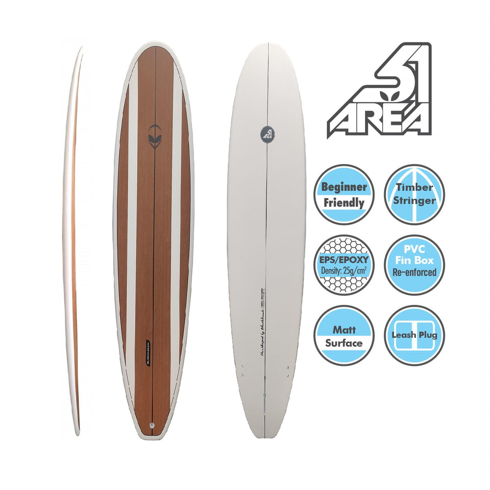 AREA51 Fun Mal 7' - 8'6 Surfboard Bamboo - Blackhawk International