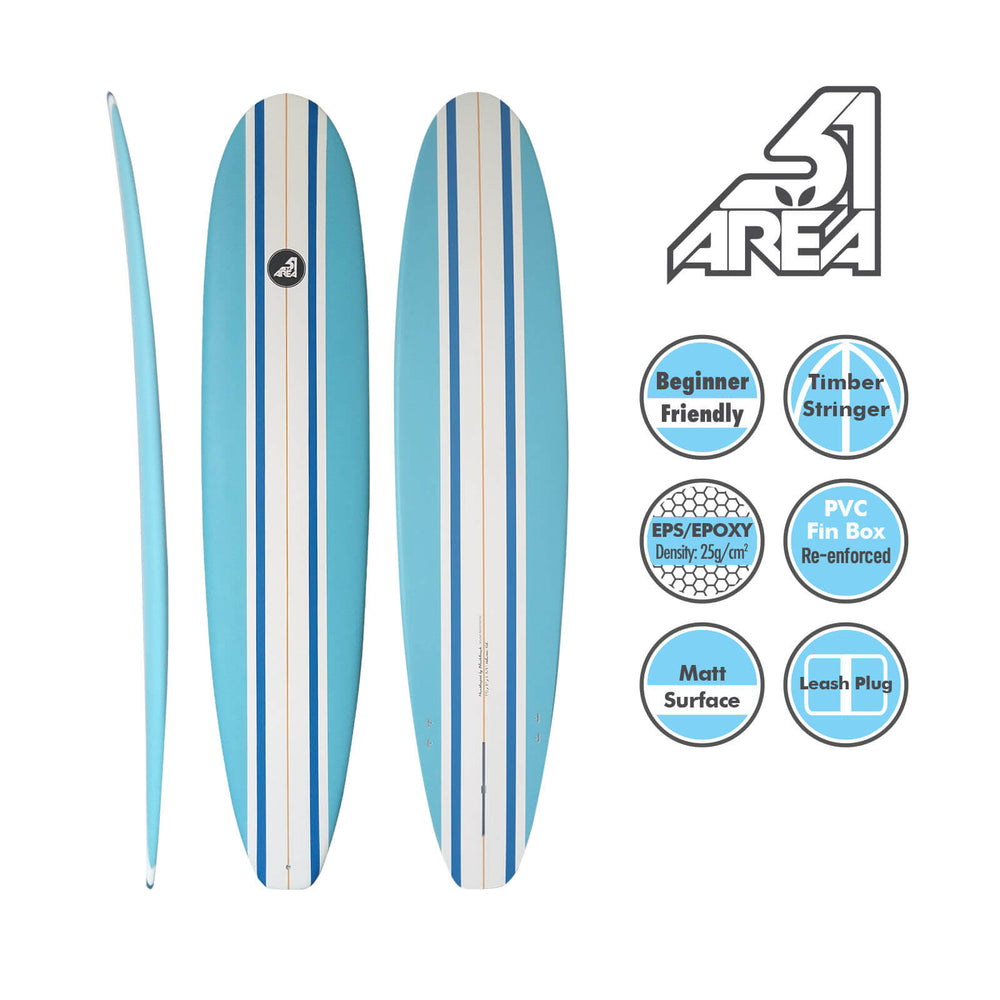 AREA51 Fun Mal 7' - 8'6 Surfboard Blue - Blackhawk International