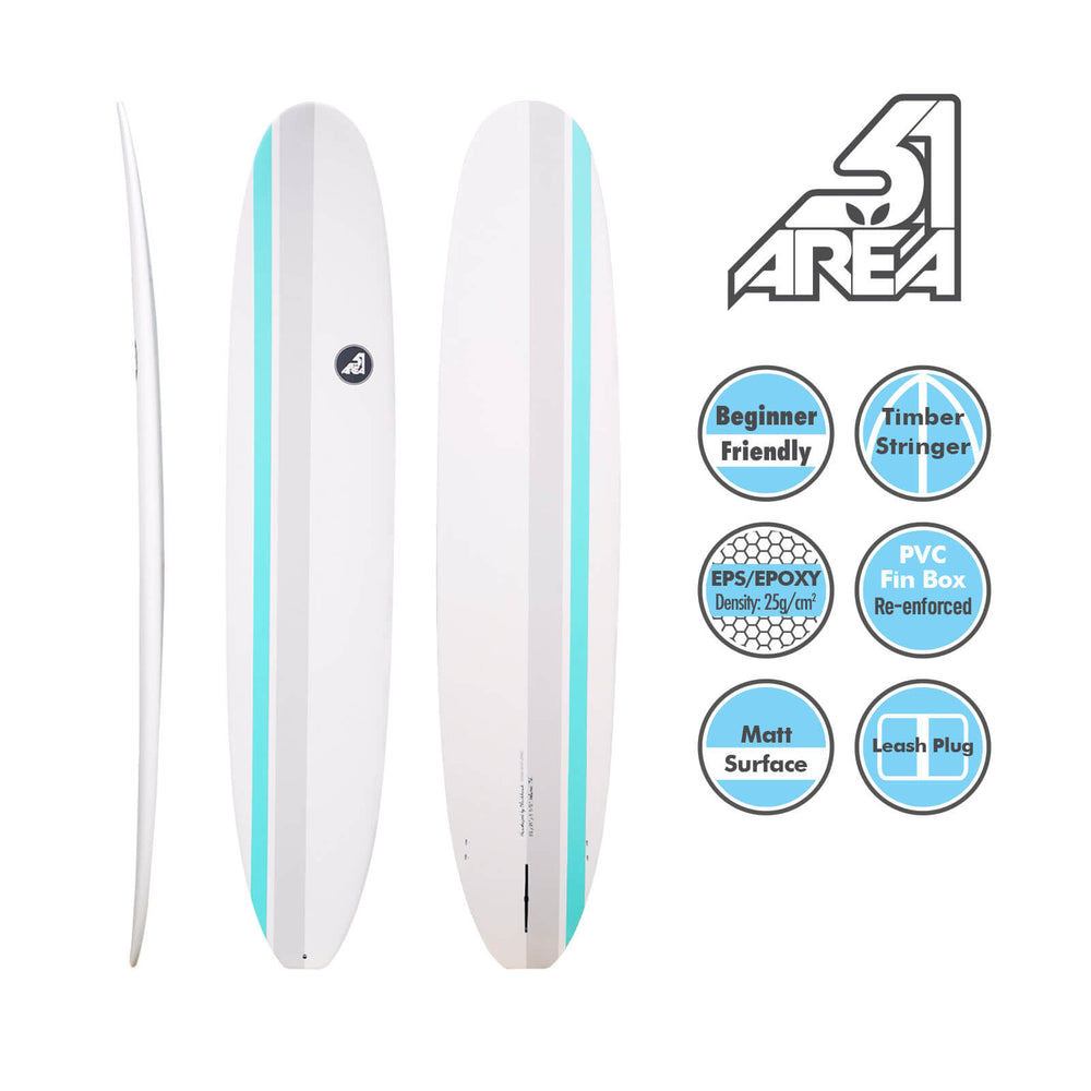 AREA51 9'1 - 9'6 Retro Malibu Longboard White - Blackhawk International