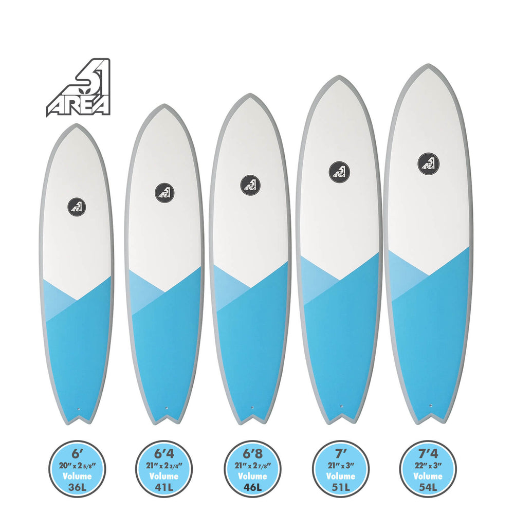 AREA51 Pod Fish 6'- 7'4 Surfboard Blue