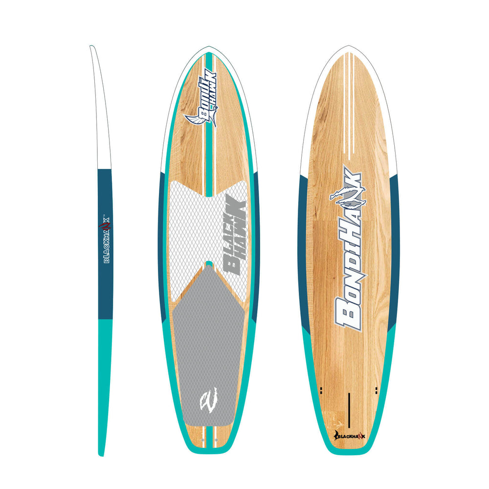 "10'6"" Bondihawk All-Rounder Bamboo Aqua SUP Package - Blackhawk International"