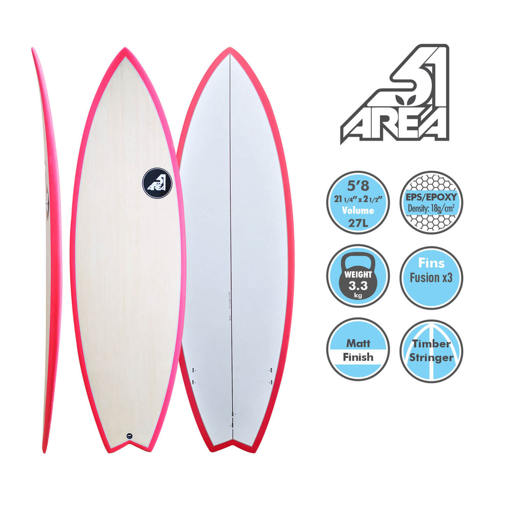 "AREA51 5'8""x20 1/4""x2 1/2"" Pod Fish Fishboard Surfboard K0148 - Blackhawk International"