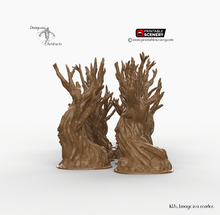 Load image into Gallery viewer, Winterdale - Gnarly, Wildwood, and Skull Tree Set 28mm 32mm Wargaming Terrain D&D, DnD, Pathfinder, SW Legion, Warhammer, 40k