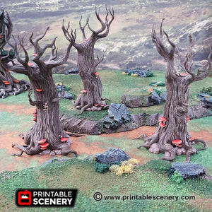 Dwarves, Elves and Demons - Gloomwood Trees 28mm 32mm Wargaming Terrain D&D, DnD, Pathfinder, SW Legion, Warhammer, 40k