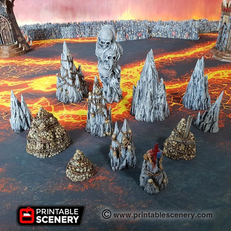 Dwarves, Elves and Demons - Tormented Scatter 28mm Wargaming Terrain D&D, DnD, Pathfinder, SW Legion, Warhammer, 40k