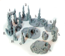 Load image into Gallery viewer, Skyless Realms - Abyssal Lava Rock Scatter Terrain 28mm 32mm Wargaming Terrain D&D, DnD, Pathfinder, SW Legion, Warhammer