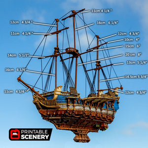 The Lost Islands - The Flying Frigate - 28mm Wargaming Terrain D&D, Pathfinder, SW Legion, Warhammer, 40k, Pirates