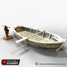 Load image into Gallery viewer, The Lost Islands - Long Boat 28mm Wargaming Terrain D&D, DnD, Pathfinder, SW Legion, Warhammer, 40k, Pirates
