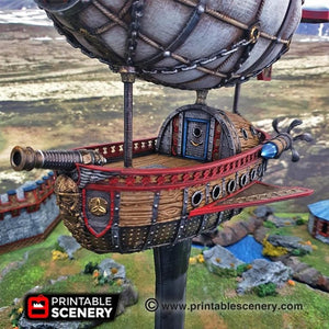 Dwarves, Elves and Demons - Dwarven Airship 28mm Wargaming Terrain D&D, DnD, Pathfinder, SW Legion, Warhammer, 40k, Steam
