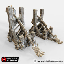 Load image into Gallery viewer, Dwarves, Elves and Demons - Plague Thrower Catapult 28mm 32mm Wargaming Terrain D&D, DnD, Pathfinder, SW Legion, Warhammer, 40k, Sigmar