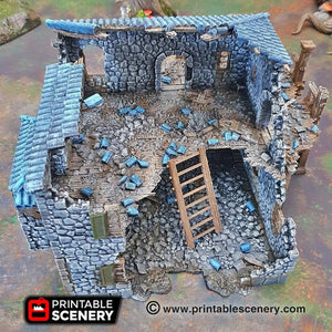 The Lost Islands - Ruined Port Tavern 15mm 28mm 32mm Wargaming Terrain D&D, Pathfinder, SW Legion, Warhammer, 40k, Pirates