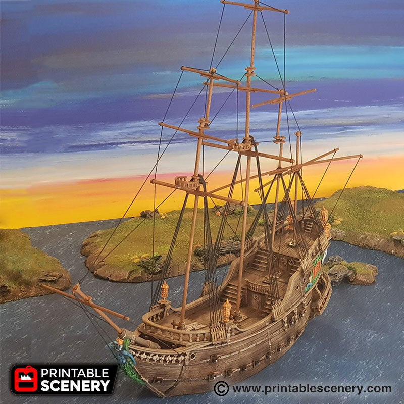 The Galleon - 15mm 28mm 32mm The Lost Islands Wargaming Terrain D&D, DnD, Pathfinder, SW Legion, Warhammer, 40k, Pirates