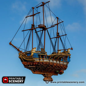 The Lost Islands - The Flying Frigate - 28mm Wargaming Terrain D&D, DnD, Pathfinder, SW Legion, Warhammer, 40k, Pirates