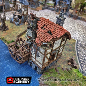 Dwarves, Elves and Demons - Ruined Water Mill 15mm 28mm 32mm Wargaming Terrain D&D, DnD, Pathfinder, SW Legion, Warhammer, 40k, Sigmar