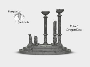 Rampage - Ruined Dragon Dais 28mm 32mm Wargaming Terrain D&D, DnD, Pathfinder, SW Legion, Warhammer, 40k, Sigmar