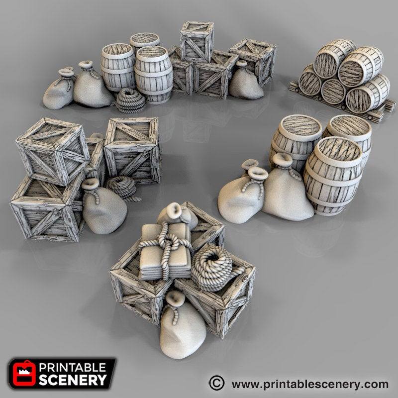 The Lost Islands - Cargo Piles 15mm 28mm 32mm Wargaming Terrain D&D, DnD, Pathfinder, SW Legion, Warhammer, 40k, Pirates