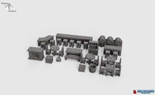 Dragonlock Ultimate Furnishings - Bar Set 28mm 32mm Wargaming Terrain D&D, DnD, Pathfinder, SW Legion, Warhammer, 40k