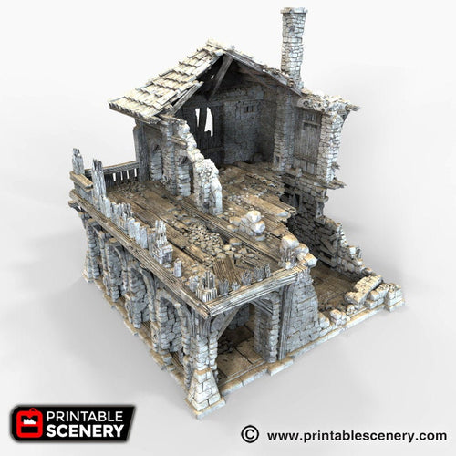 The Lost Islands - Ruined Warehouse - 15mm 28mm 32mm Wargaming Terrain D&D, DnD, Pathfinder, SW Legion, Warhammer, 40k, Pirates