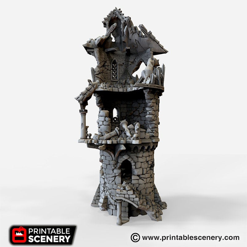 The Lost Islands - Ruined Wizard Tower - 15mm 28mm 32mm Wargaming Terrain D&D, DnD, Pathfinder, SW Legion, Warhammer, 40k, Pirates