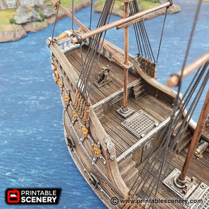 The Lost Islands - The Fluyt - 15mm 28mm 32mm Wargaming Terrain D&D, DnD, Pathfinder, SW Legion, Warhammer, 40k, Pirates