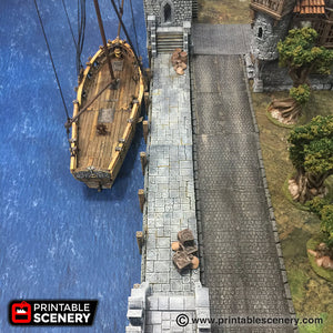 The Lost Islands - Port Winterdale Docks Set 28mm 32mm Wargaming Terrain D&D, DnD, Pathfinder, SW Legion, Warhammer, 40k