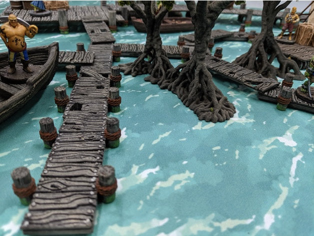 Depths of the Savage Atoll - Docks and Bridges 15mm 28mm 32mm Wargaming Terrain D&D, DnD, Pathfinder, SW Legion, Warhammer