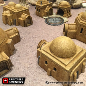 Future Buildings - Sci-Fi Settlement Bundle 28mm 32mm Wargaming Terrain D&D, DnD, Pathfinder, SW Legion, Warhammer, 40k