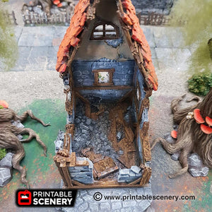 The Lost Islands - Ruined Small Cottage 28mm 32mm Wargaming Terrain D&D, DnD, Pathfinder, SW Legion, Warhammer, 40k, Sigmar