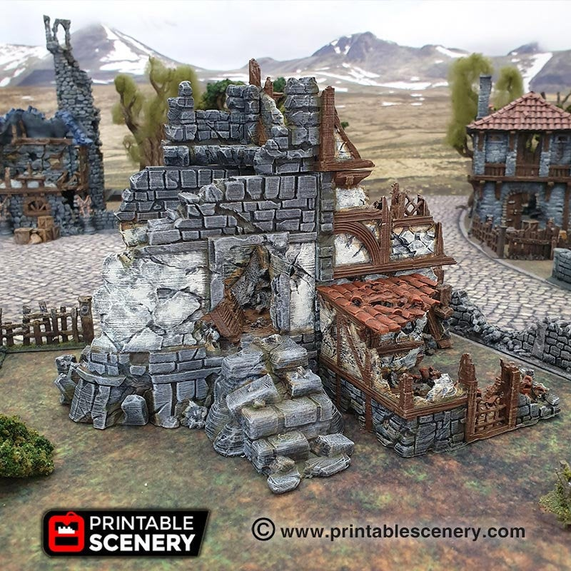 Dwarves, Elves and Demons - Ruined War Cottage 28mm 32mm Wargaming Terrain D&D, DnD, Pathfinder, SW Legion, Warhammer, 40k, Sigmar