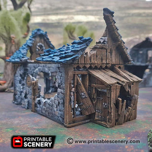 Dwarves, Elves and Demons - Ruined Blacksmith 15mm 28mm 32mm Wargaming Terrain D&D, DnD, Pathfinder, SW Legion, Warhammer, 40k, Sigmar