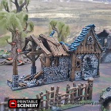 Load image into Gallery viewer, Dwarves, Elves and Demons - Ruined Blacksmith 15mm 28mm 32mm Wargaming Terrain D&D, DnD, Pathfinder, SW Legion, Warhammer, 40k, Sigmar
