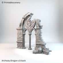Load image into Gallery viewer, Rampage - Ruined Dragon Archway 28mm 32mm Wargaming Terrain D&D, DnD, Pathfinder, SW Legion, Warhammer, 40k, Sigmar