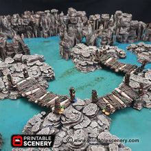 Load image into Gallery viewer, Rickety Bridges - 15mm 28mm 32mm Clorehaven and the Goblin Grotto, Wargaming Terrain D&D, DnD, Pathfinder, SW Legion, Warhammer, 40k, Sigmar
