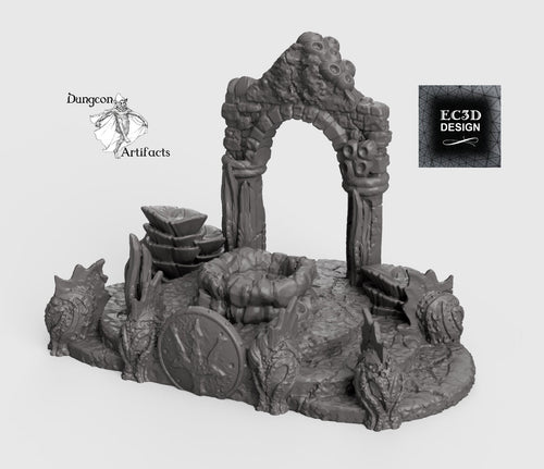 Atlantean Ruins Hall Entrance - 15mm 28mm 32mm Depths of the Savage Atoll Wargaming Terrain D&D, DnD, Pathfinder, SW Legion, Warhammer