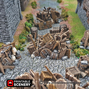 Barricades - 15mm 28mm 32mm Clorehaven and the Goblin Grotto Wargaming Terrain D&D, DnD, Pathfinder, SW Legion, Warhammer, 40k