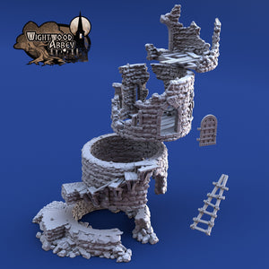 Ruined Rookery Tower 28mm 32mm Wightwood Abbey Wargaming Terrain D&D, DnD, Pathfinder, SW Legion, Warhammer 40k