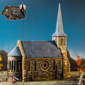 Wightwood Abbey Church 15mm 28mm 32mm Wargaming Terrain D&D, DnD, Pathfinder, SW Legion, Warhammer 40k
