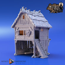 Load image into Gallery viewer, Thatched Storehouse Workshop 28mm 32mm Wightwood Abbey Wargaming Terrain D&D, DnD, Pathfinder, SW Legion, Warhammer 40k