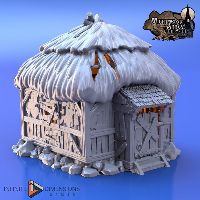 Quarantine Hut - Prison Hut - 28mm 32mm Wightwood Abbey Wargaming Terrain D&D, DnD, Pathfinder, SW Legion, Warhammer 40k
