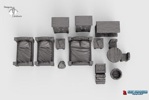 Dragonlock Ultimate Furnishings - Bedroom Set 28mm 32mm Wargaming Terrain D&D, DnD, Pathfinder, SW Legion, Warhammer, 40k