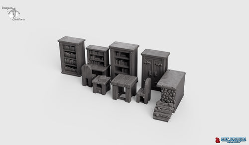 Dragonlock Ultimate Furnishings - The Study Set 28mm 32mm Wargaming Terrain D&D, DnD, Pathfinder, SW Legion, Warhammer, 40k