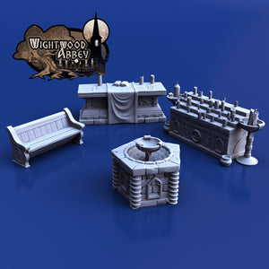 Church Furnishings 28mm 32mm Wightwood Abbey Wargaming Tabletop Scatter Miniatures Terrain D&D, DnD, Pathfinder, SW Legion, Warhammer 40k