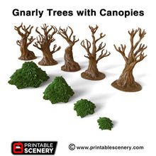 Load image into Gallery viewer, Clorehaven and the Goblin Grotto - Gnarly Trees with Canopies 15mm 28mm 32mm Wargaming Terrain D&D, DnD, Pathfinder, SW Legion, Warhammer, 40k