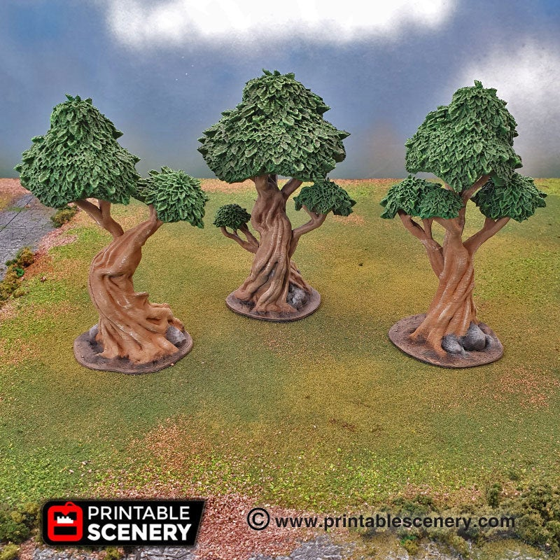 Clorehaven and the Goblin Grotto - Gnarly Trees with Canopies 15mm 28mm 32mm Wargaming Terrain D&D, DnD, Pathfinder, SW Legion, Warhammer, 40k