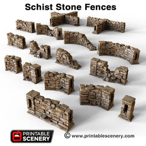 Clorehaven and the Goblin Grotto - Schist Stone Fences 15mm 28mm Wargaming Terrain D&D, DnD, Pathfinder, SW Legion, Warhammer, 40k