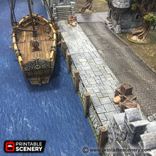 Load image into Gallery viewer, The Lost Islands - Port Winterdale Docks Set 28mm 32mm Wargaming Terrain D&D, DnD, Pathfinder, SW Legion, Warhammer, 40k