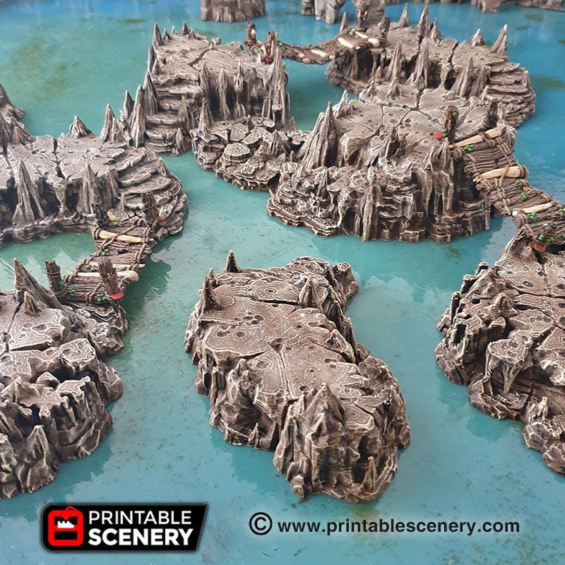 Raised Caverns 15mm 28mm Clorehaven and the Goblin Grotto Wargaming Terrain D&D, DnD, Pathfinder, SW Legion, Warhammer, 40k